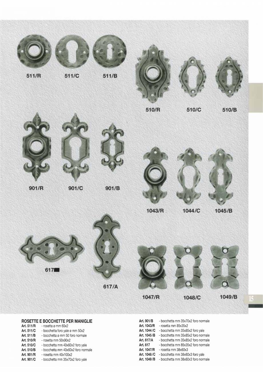 Pagina 17 - Manere si silduri din fier forjat pentru usi si ferestre GALBUSERA BAROC, BASEL, BERLIN,...