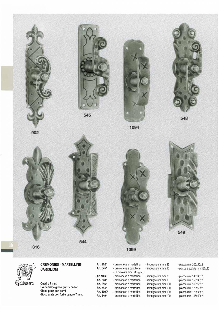 Pagina 18 - Manere si silduri din fier forjat pentru usi si ferestre GALBUSERA BAROC, BASEL, BERLIN,...