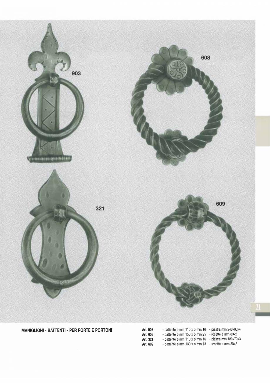 Pagina 23 - Manere si silduri din fier forjat pentru usi si ferestre GALBUSERA BAROC, BASEL, BERLIN,...