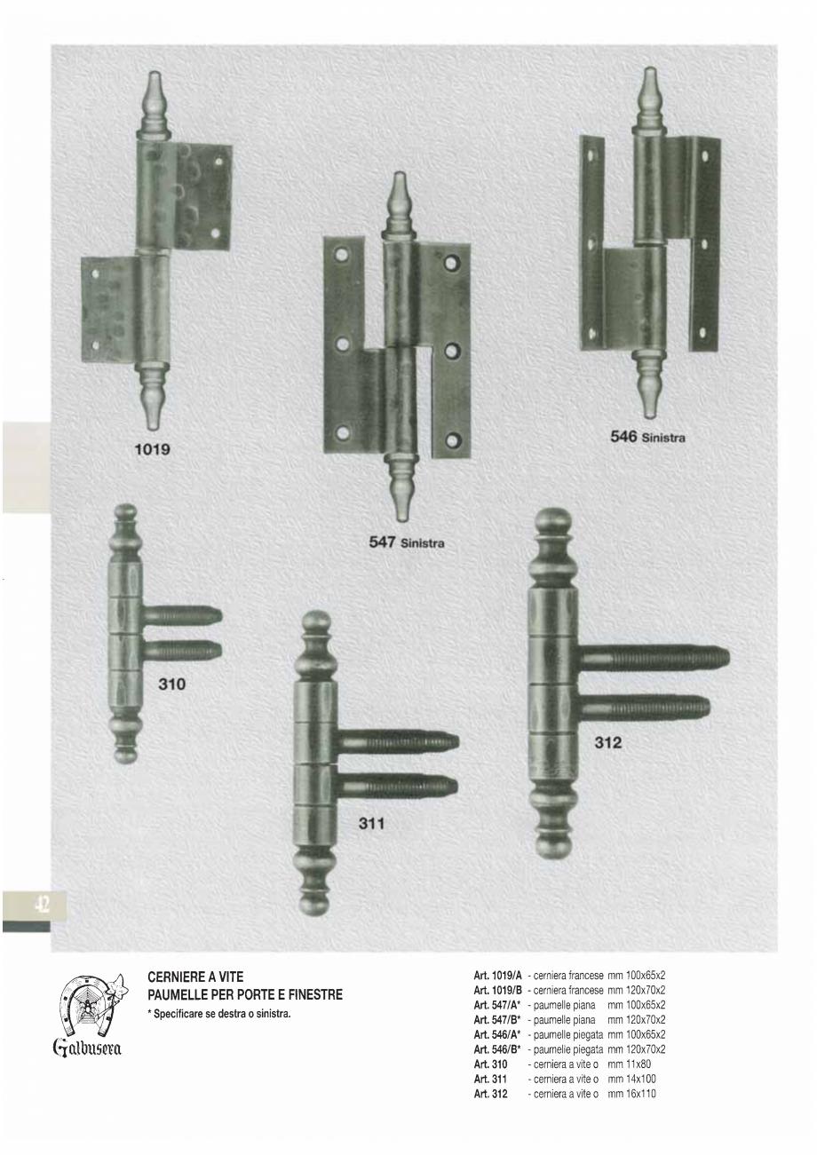 Pagina 44 - Manere si silduri din fier forjat pentru usi si ferestre GALBUSERA BAROC, BASEL, BERLIN,...