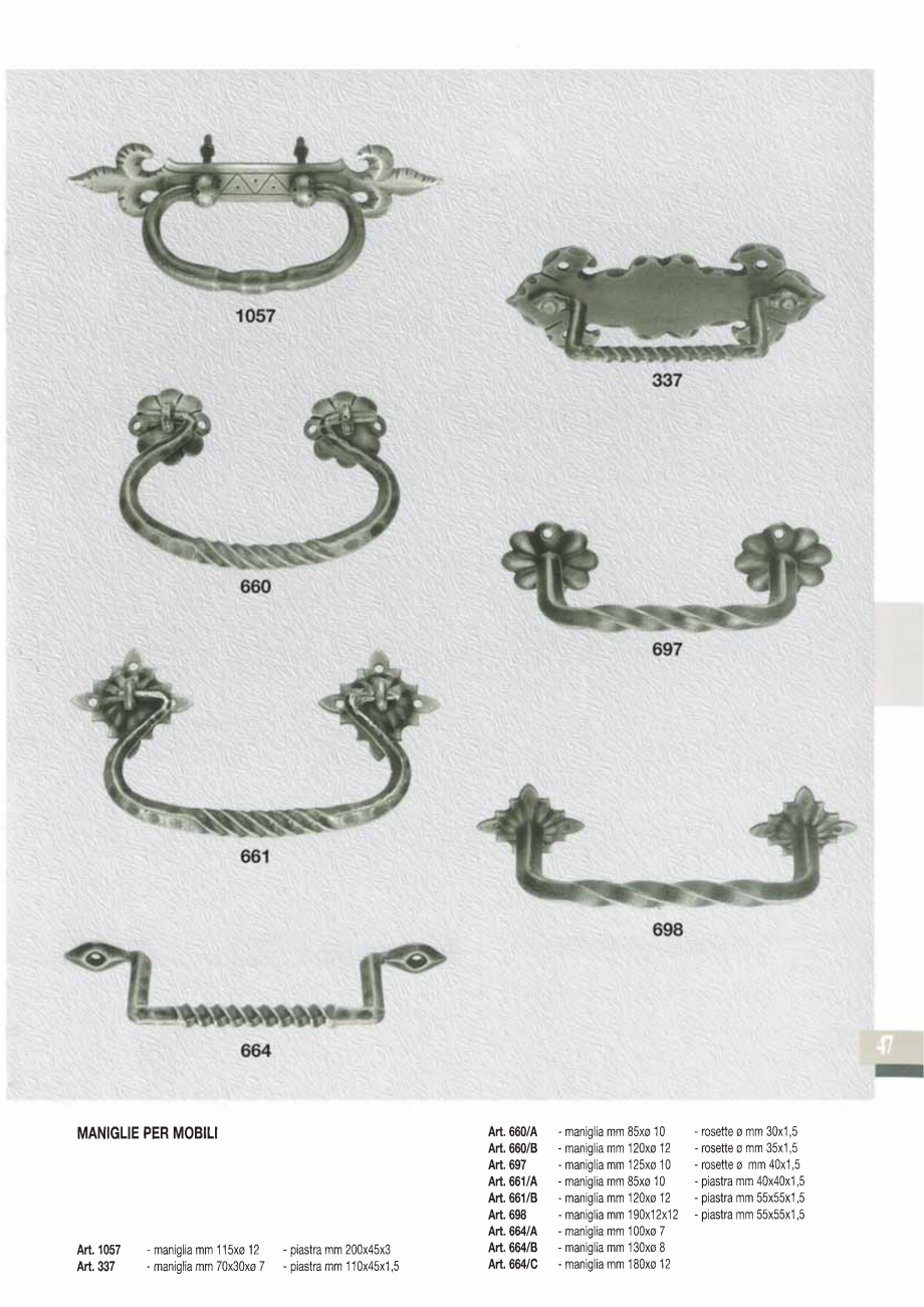 Pagina 49 - Manere si silduri din fier forjat pentru usi si ferestre GALBUSERA BAROC, BASEL, BERLIN,...