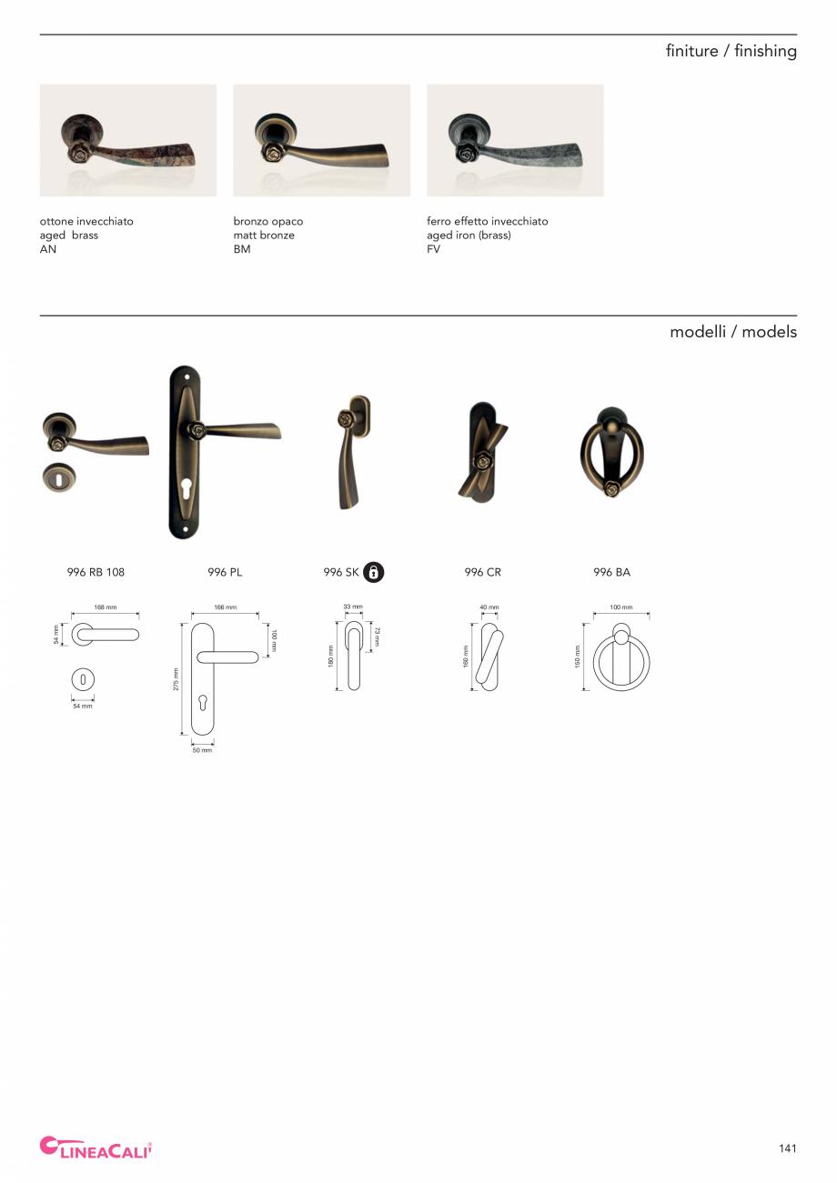 Pagina 143 - Catalog Linea CALI 2019 DALI BUSINESS Catalog, brosura Engleza, Italiana teristics are ...