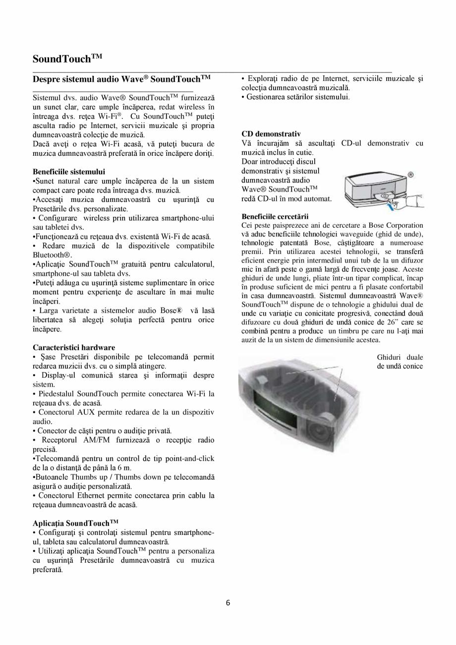 Pagina 6 - Sistem audio wave BOSE Wave SoundTouch IV Instructiuni montaj, utilizare Romana  de...