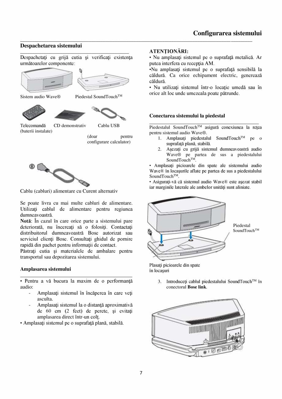 Pagina 7 - Sistem audio wave BOSE Wave SoundTouch IV Instructiuni montaj, utilizare Romana trivit...
