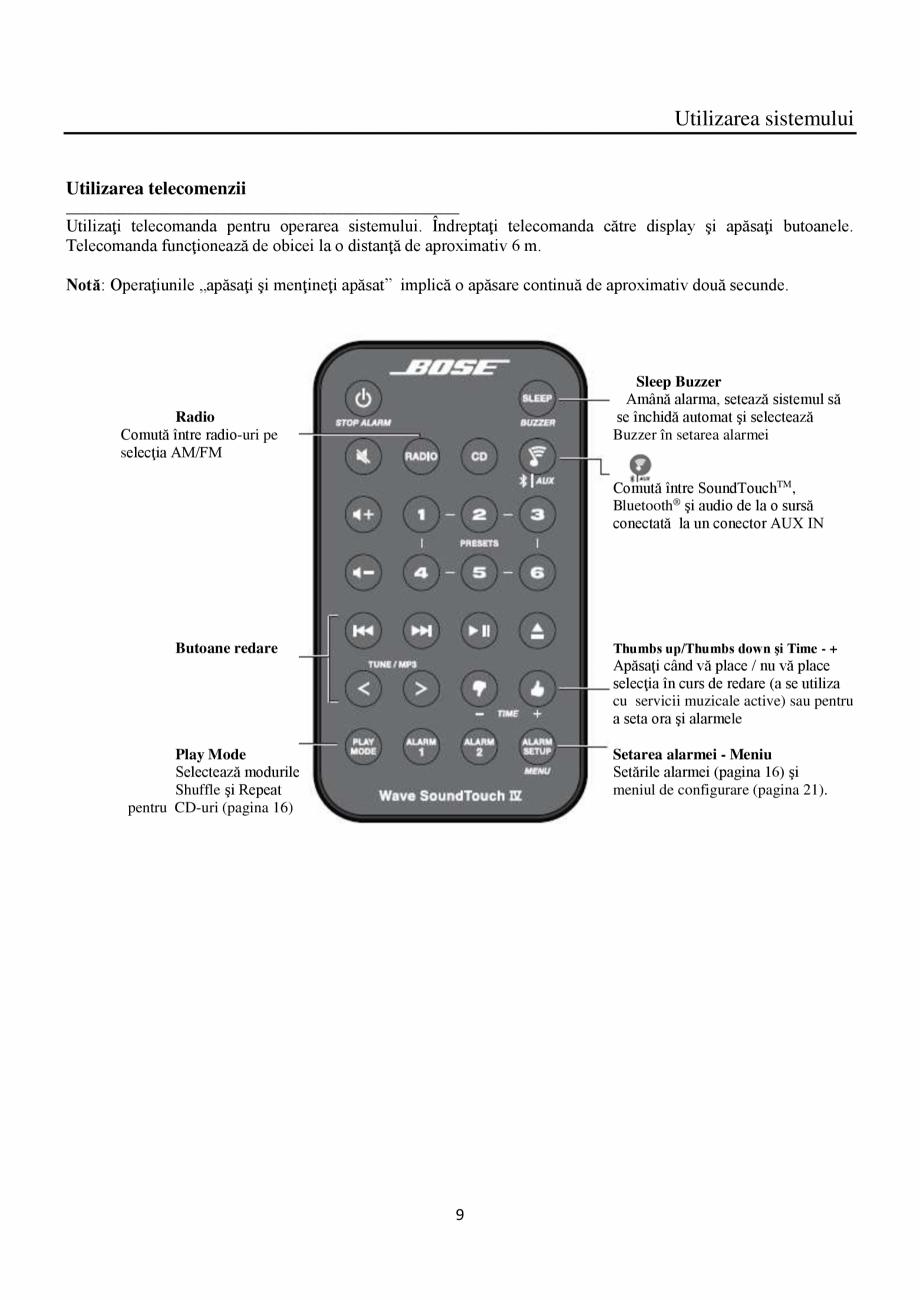 Pagina 9 - Sistem audio wave BOSE Wave SoundTouch IV Instructiuni montaj, utilizare Romana ţii...