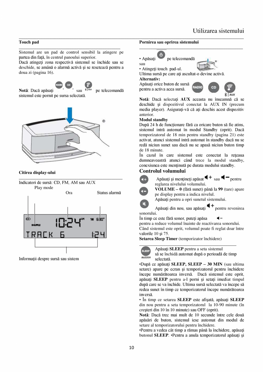 Pagina 10 - Sistem audio wave BOSE Wave SoundTouch IV Instructiuni montaj, utilizare Romana figurare...