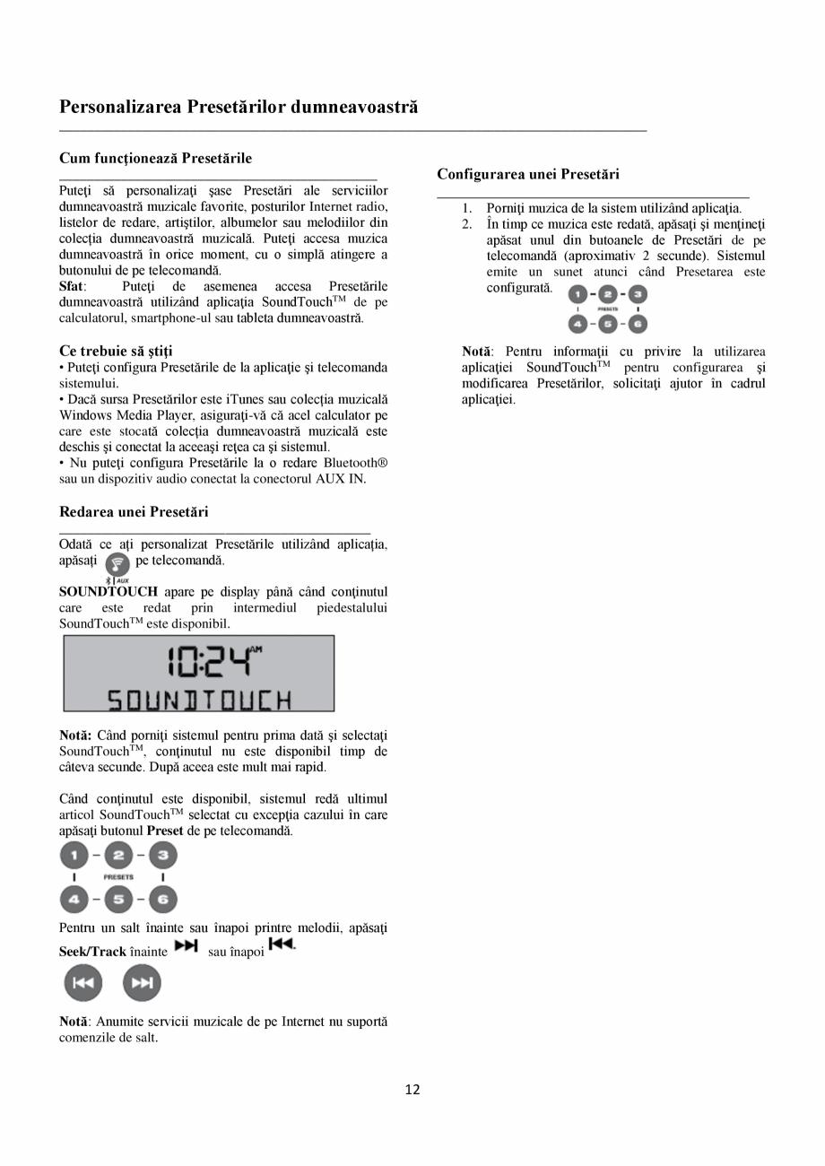 Pagina 12 - Sistem audio wave BOSE Wave SoundTouch IV Instructiuni montaj, utilizare Romana chTM în...