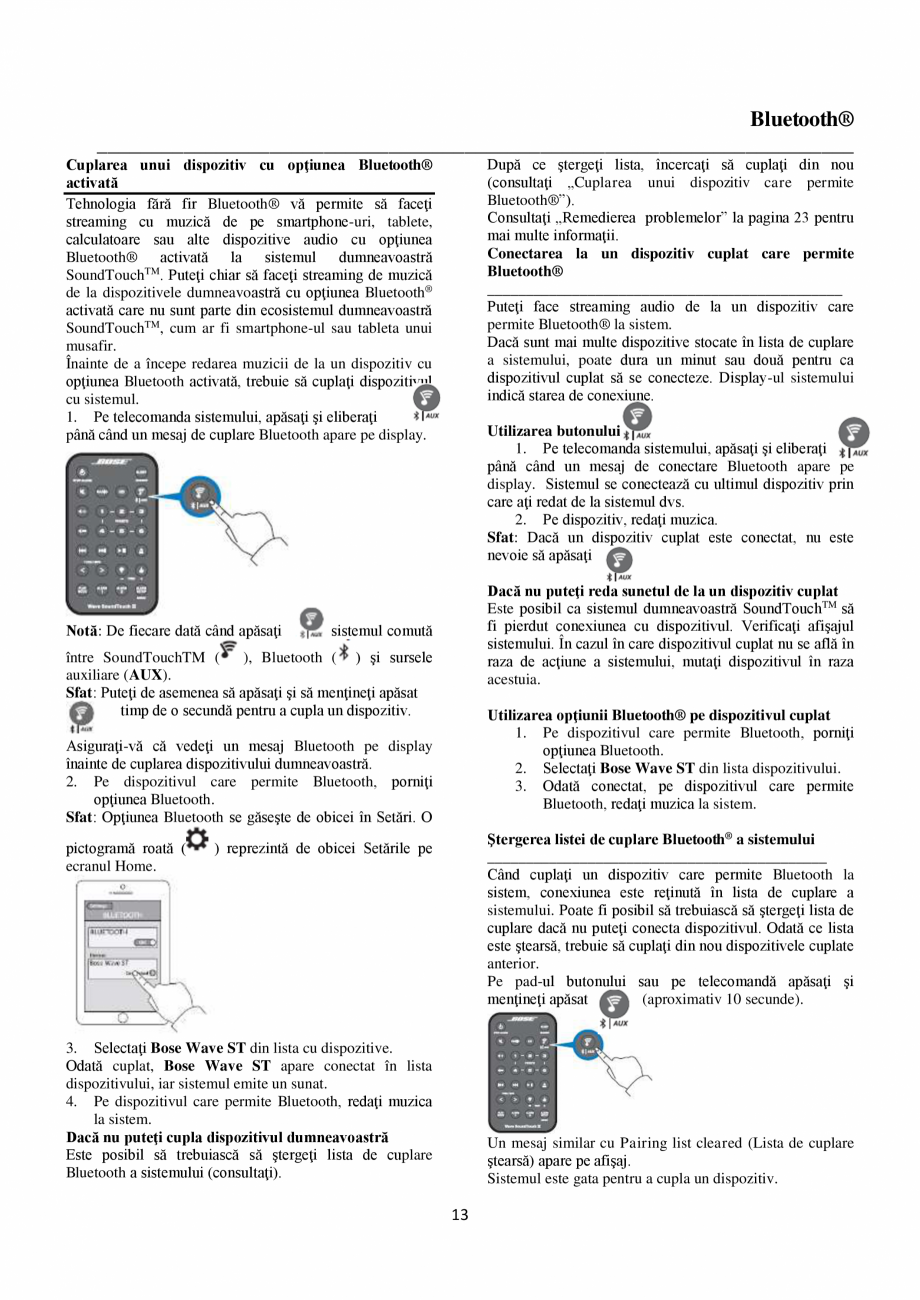 Pagina 13 - Sistem audio wave BOSE Wave SoundTouch IV Instructiuni montaj, utilizare Romana tore...