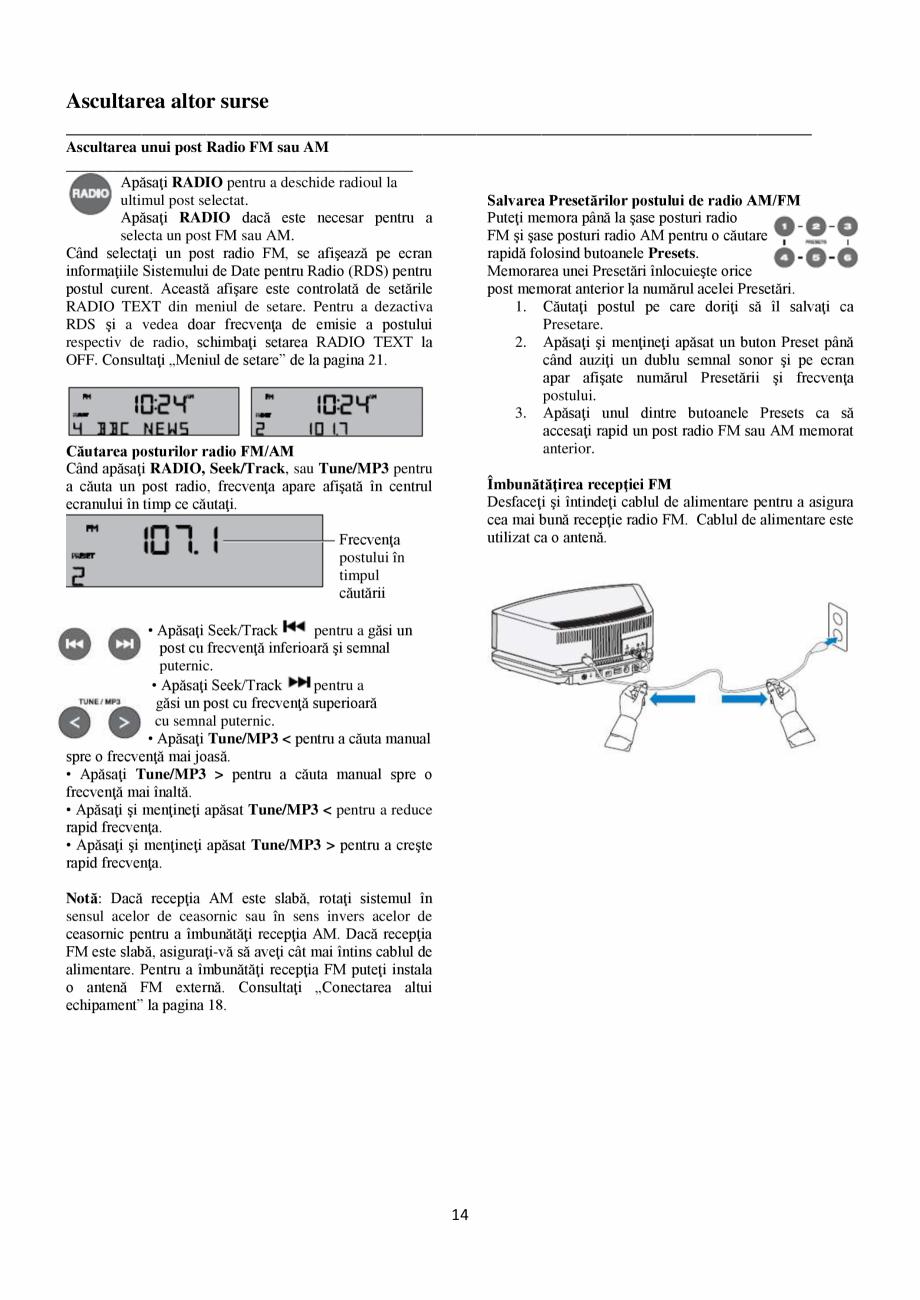 Pagina 14 - Sistem audio wave BOSE Wave SoundTouch IV Instructiuni montaj, utilizare Romana ration...
