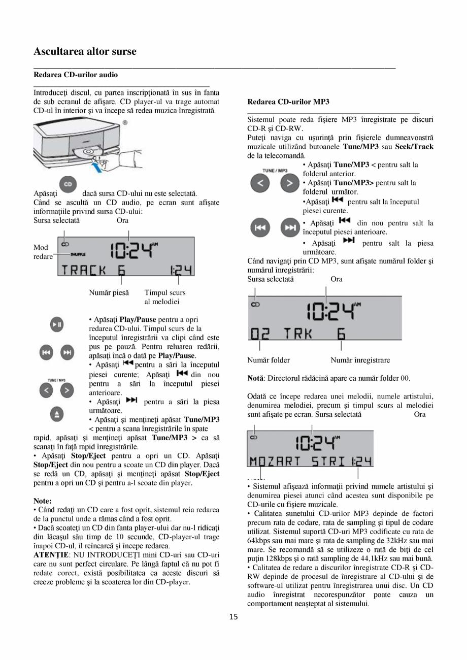 Pagina 15 - Sistem audio wave BOSE Wave SoundTouch IV Instructiuni montaj, utilizare Romana...