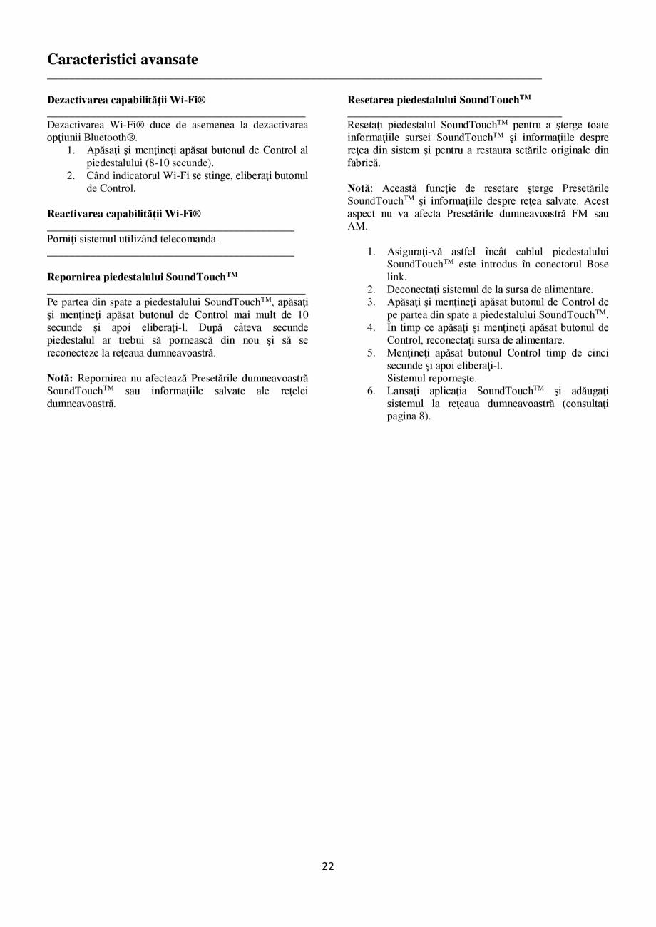 Pagina 22 - Sistem audio wave BOSE Wave SoundTouch IV Instructiuni montaj, utilizare Romana ...