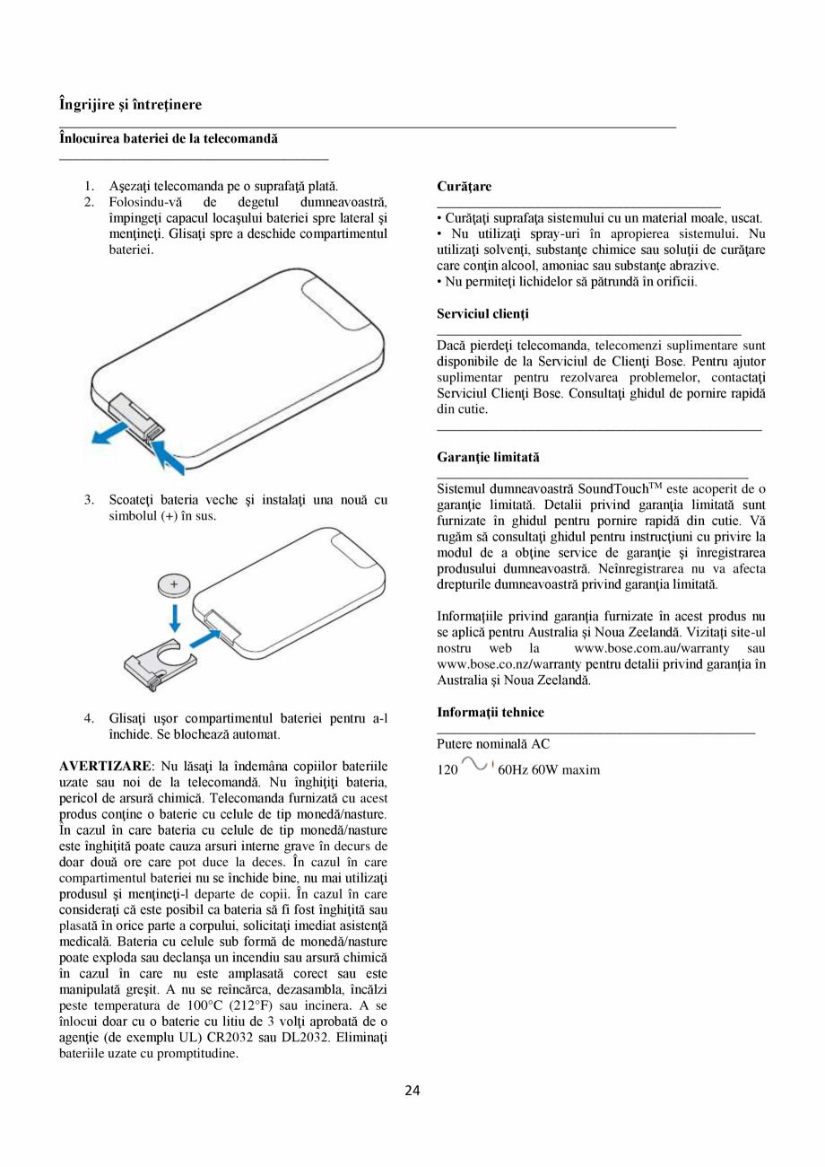 Pagina 24 - Sistem audio wave BOSE Wave SoundTouch IV Instructiuni montaj, utilizare Romana ...