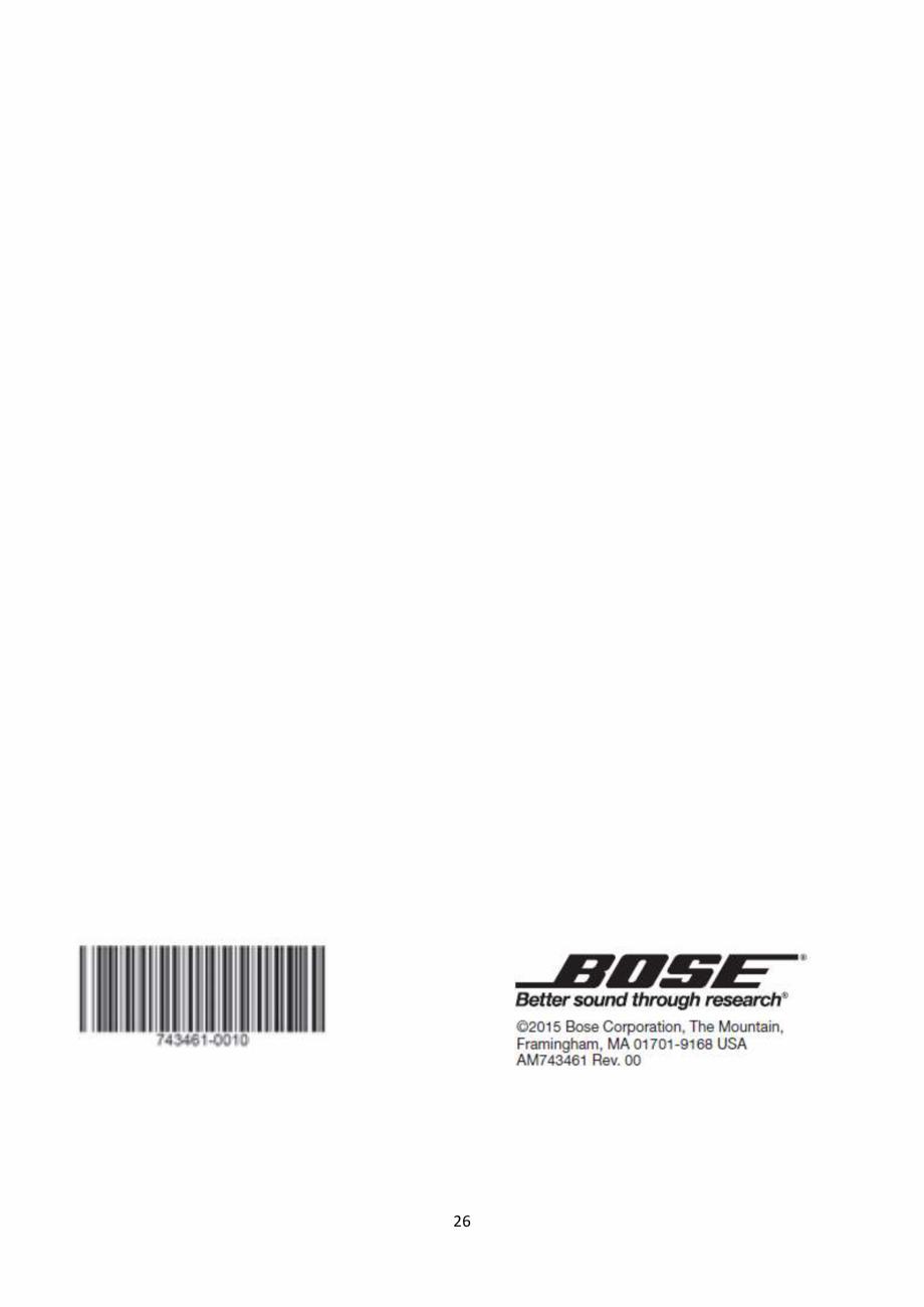 Pagina 26 - Sistem audio wave BOSE Wave SoundTouch IV Instructiuni montaj, utilizare Romana servicii...