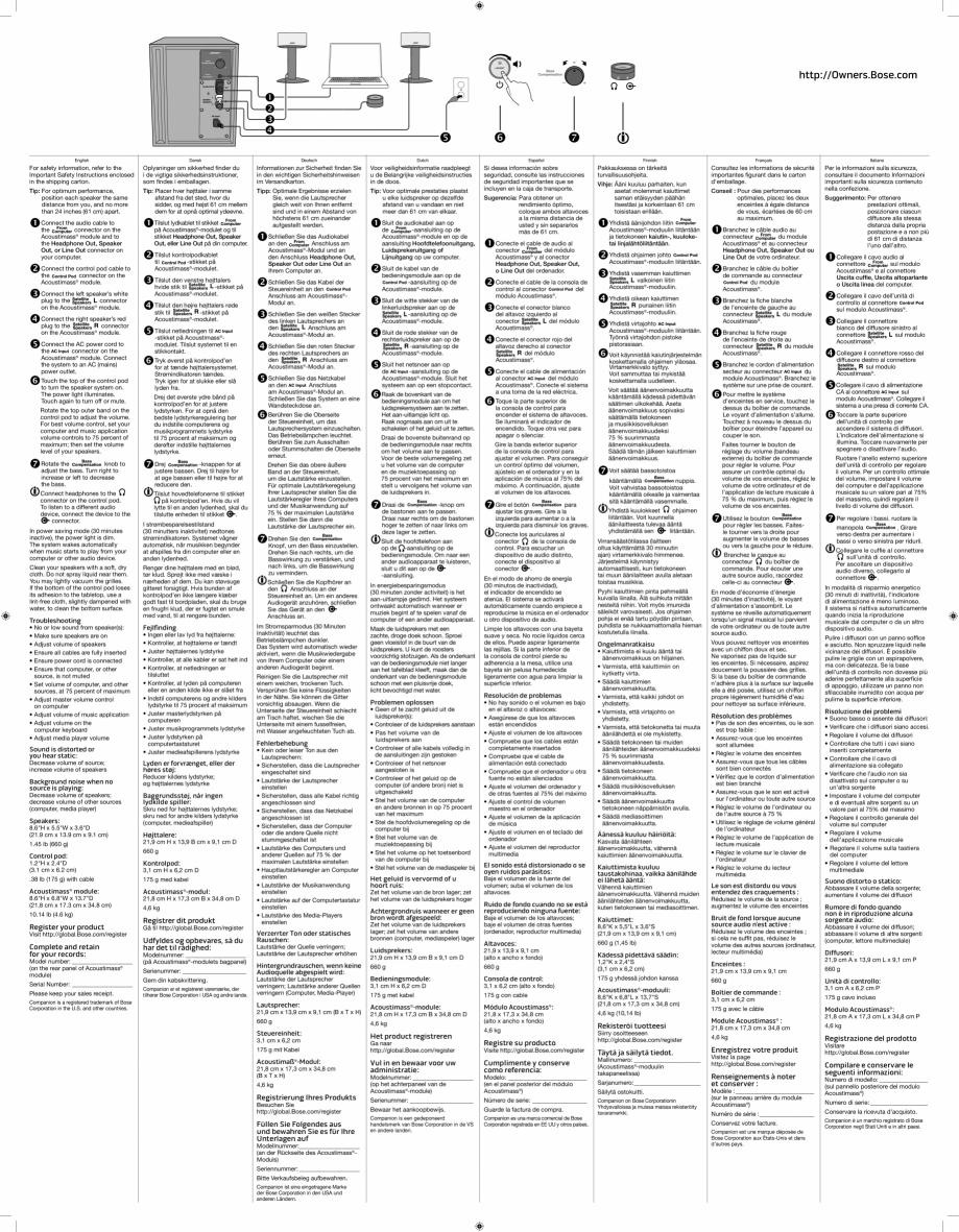 Pagina 2 - Manual de utilizare - boxe cu fir pentru calculator BOSE Companion 50 Instructiuni montaj...