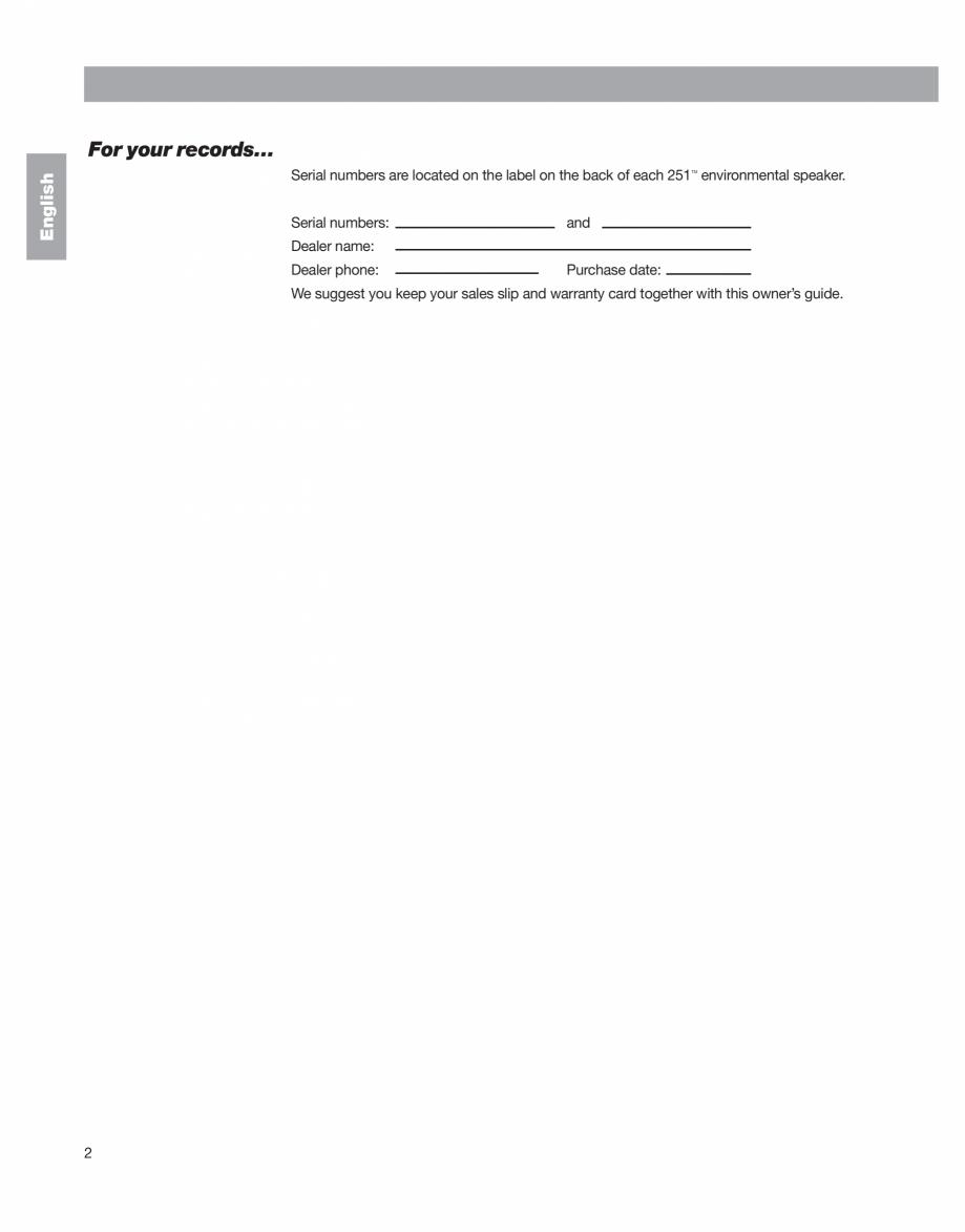Pagina 2 - Manual de utilizare - boxe cu fir pentru exterior BOSE 251 Instructiuni montaj, utilizare...