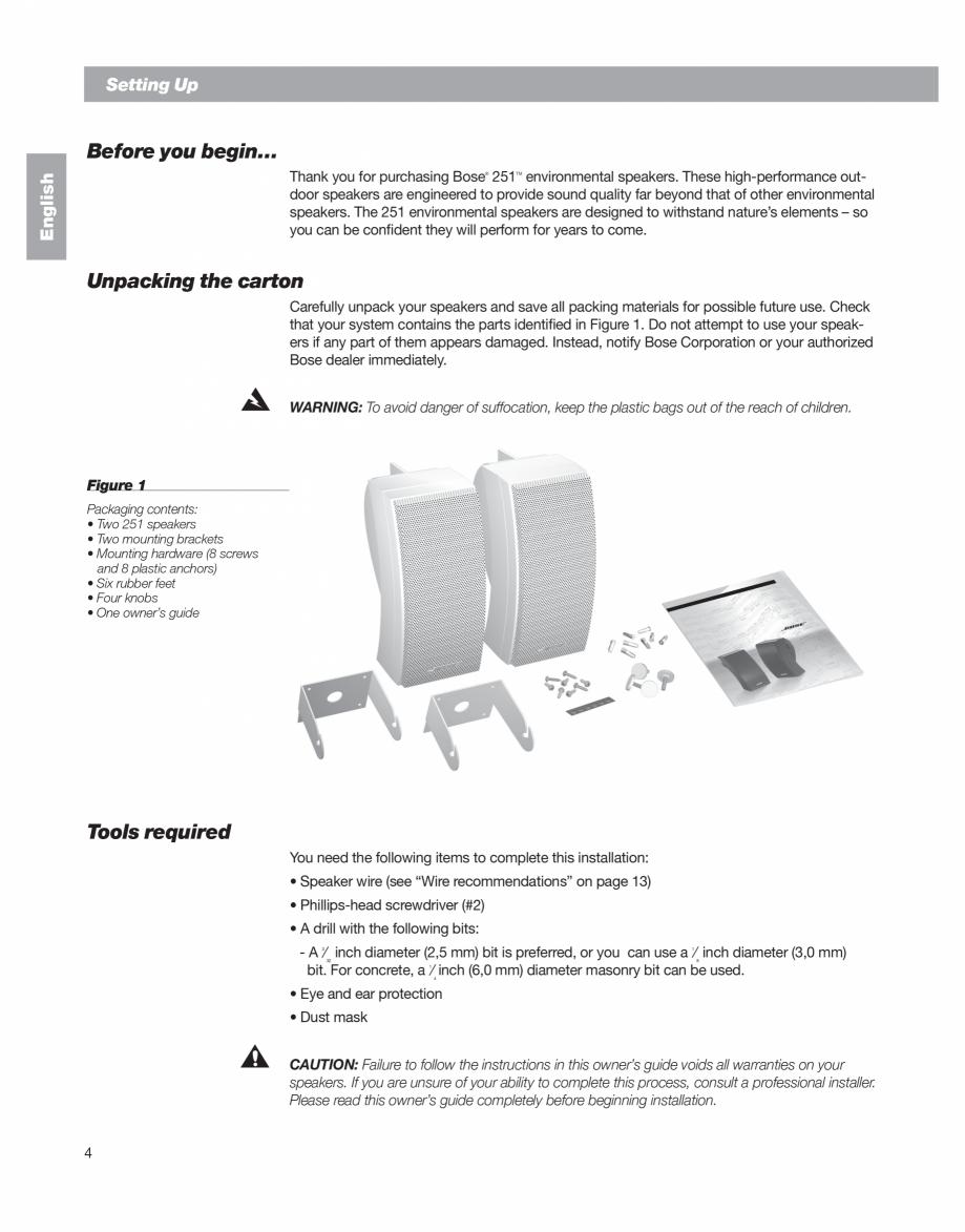 Pagina 4 - Manual de utilizare - boxe cu fir pentru exterior BOSE 251 Instructiuni montaj, utilizare...