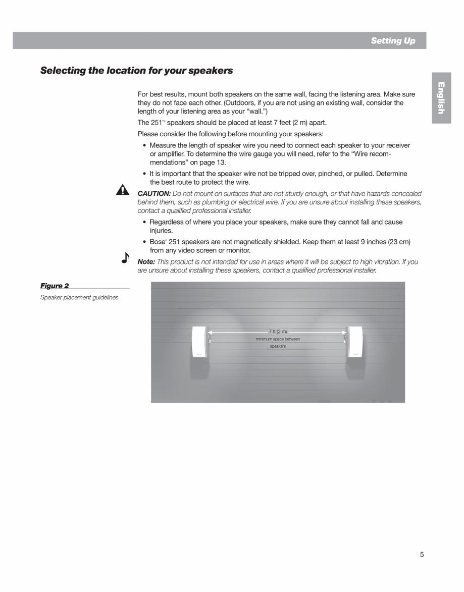 Pagina 5 - Manual de utilizare - boxe cu fir pentru exterior BOSE 251 Instructiuni montaj, utilizare...