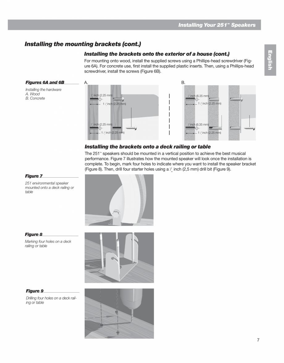 Pagina 7 - Manual de utilizare - boxe cu fir pentru exterior BOSE 251 Instructiuni montaj, utilizare...