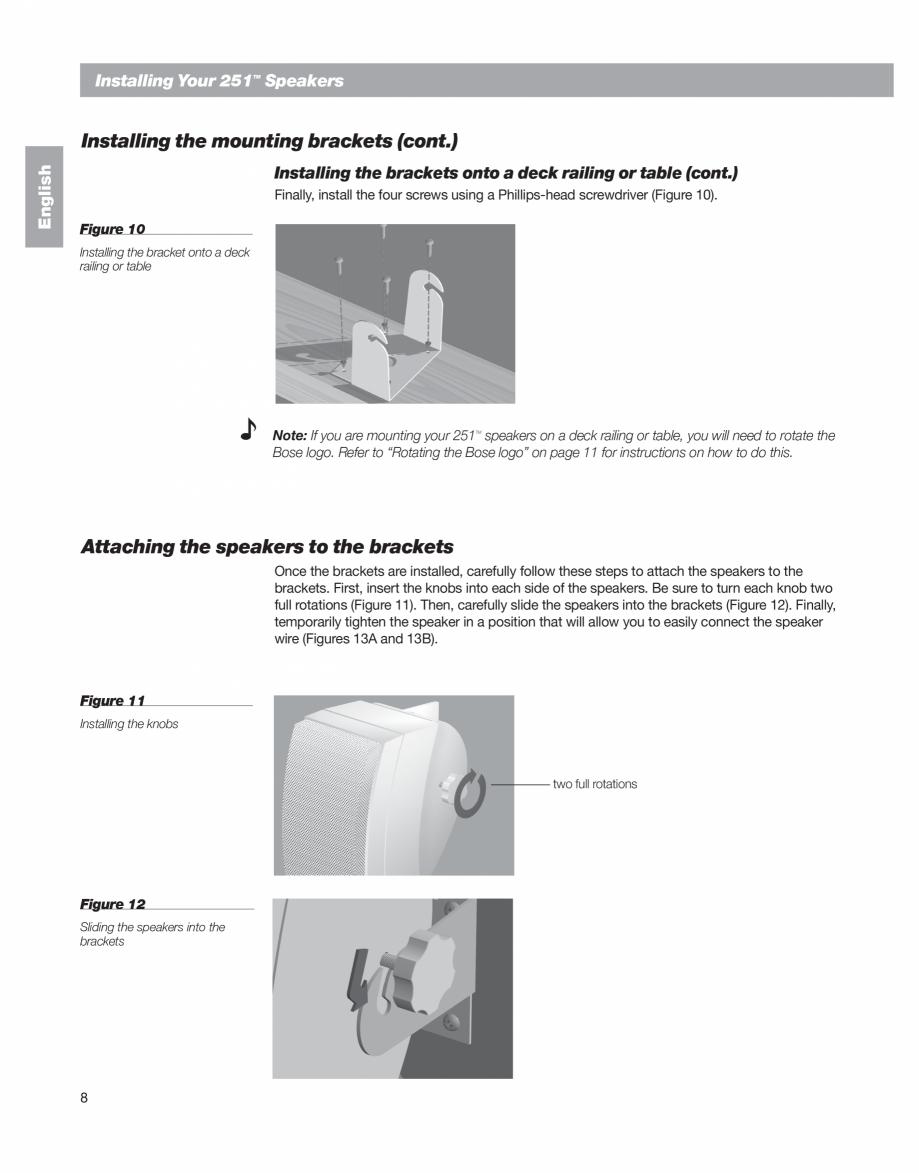 Pagina 8 - Manual de utilizare - boxe cu fir pentru exterior BOSE 251 Instructiuni montaj, utilizare...