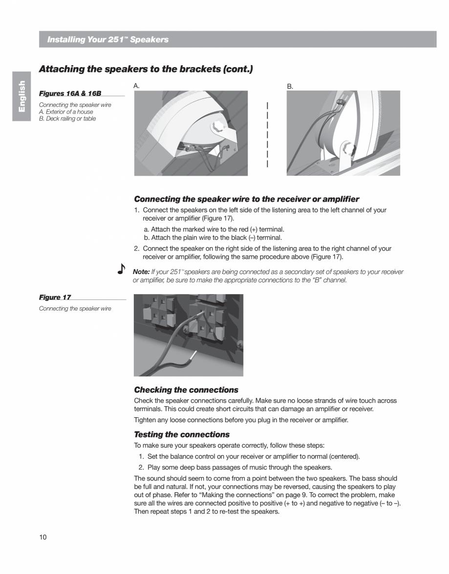 Pagina 10 - Manual de utilizare - boxe cu fir pentru exterior BOSE 251 Instructiuni montaj,...