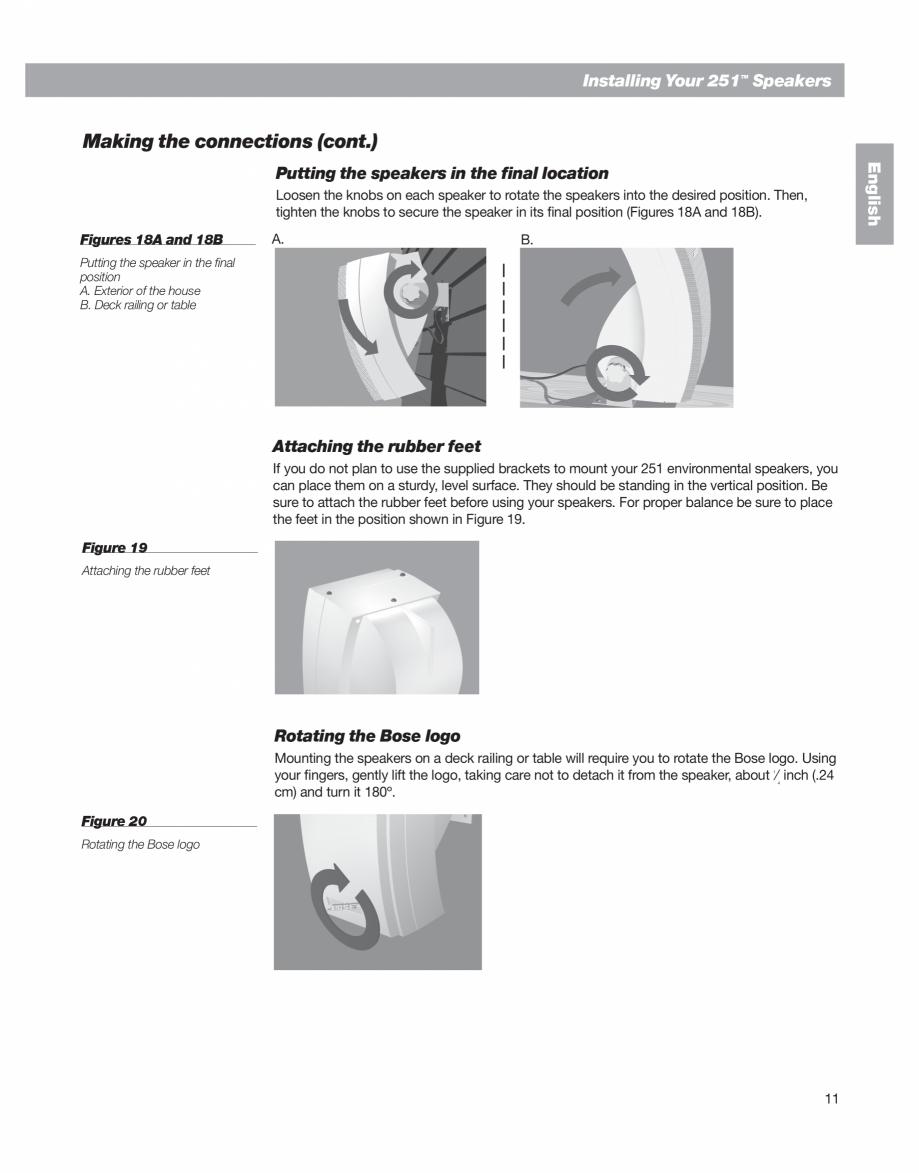 Pagina 11 - Manual de utilizare - boxe cu fir pentru exterior BOSE 251 Instructiuni montaj,...
