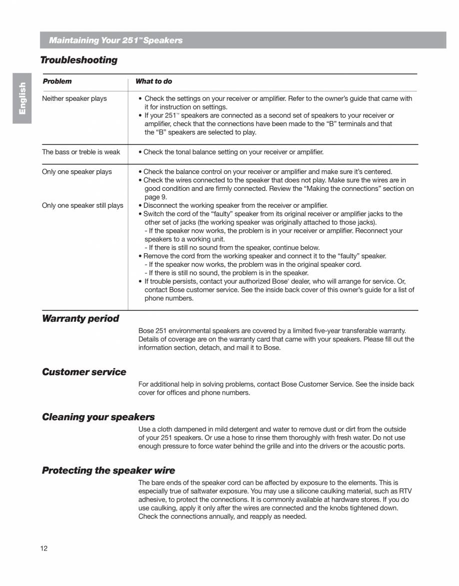 Pagina 12 - Manual de utilizare - boxe cu fir pentru exterior BOSE 251 Instructiuni montaj,...