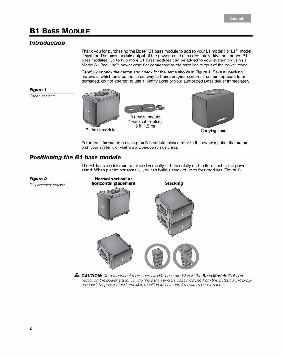 Pagina 2 - Sistem audio pentru muzica live BOSE Instructiuni montaj, utilizare Engleza, Franceza,...