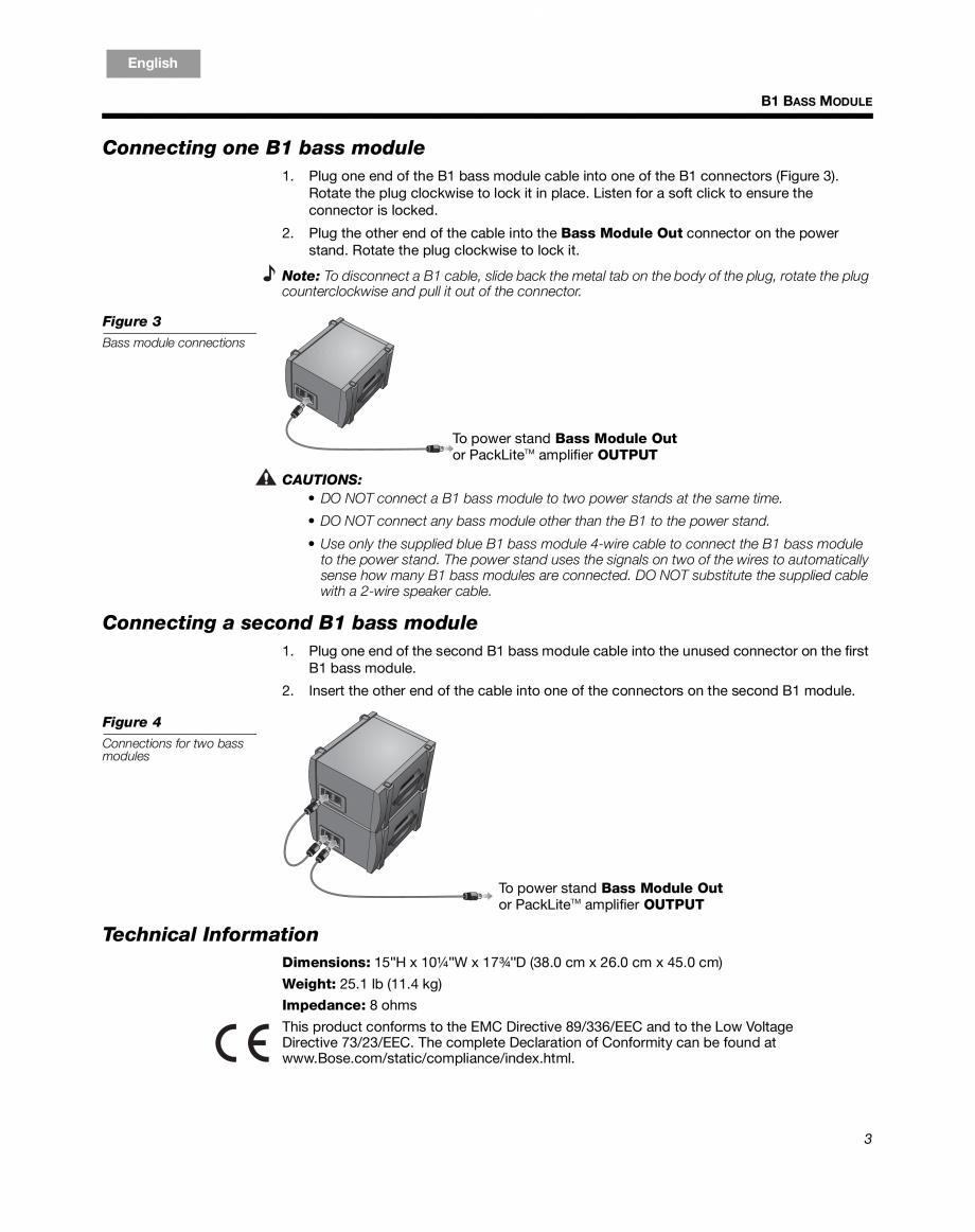 Pagina 3 - Sistem audio pentru muzica live BOSE Instructiuni montaj, utilizare Engleza, Franceza,...