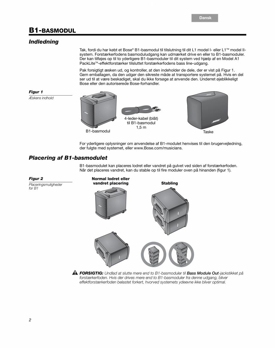 Pagina 4 - Sistem audio pentru muzica live BOSE Instructiuni montaj, utilizare Engleza, Franceza,...