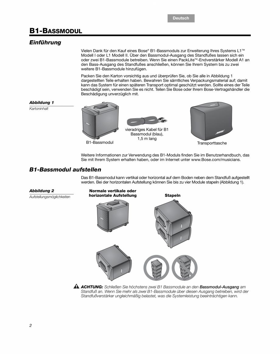 Pagina 6 - Sistem audio pentru muzica live BOSE Instructiuni montaj, utilizare Engleza, Franceza,...