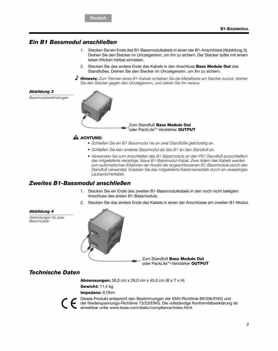 Pagina 7 - Sistem audio pentru muzica live BOSE Instructiuni montaj, utilizare Engleza, Franceza,...