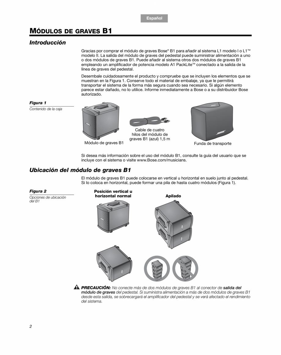 Pagina 8 - Sistem audio pentru muzica live BOSE Instructiuni montaj, utilizare Engleza, Franceza,...