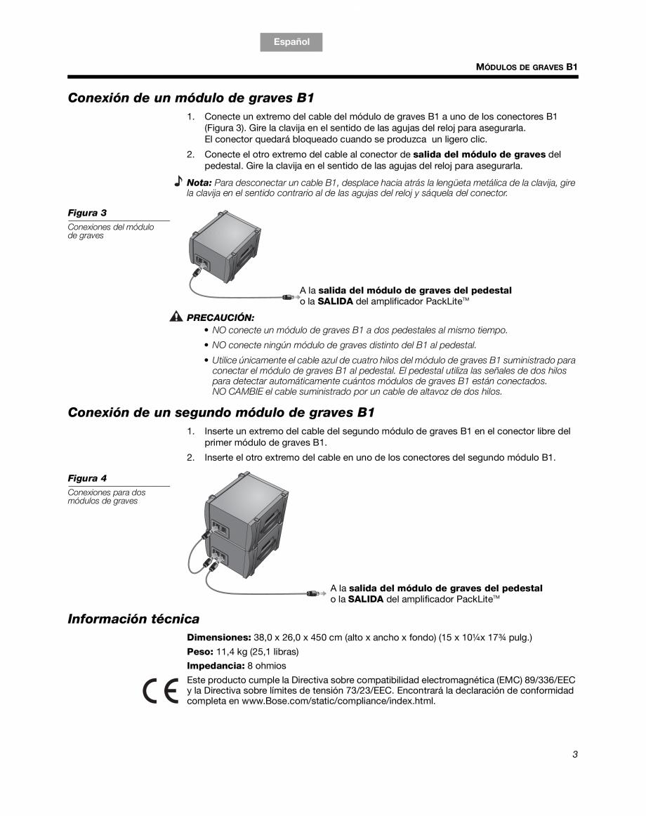 Pagina 9 - Sistem audio pentru muzica live BOSE Instructiuni montaj, utilizare Engleza, Franceza,...