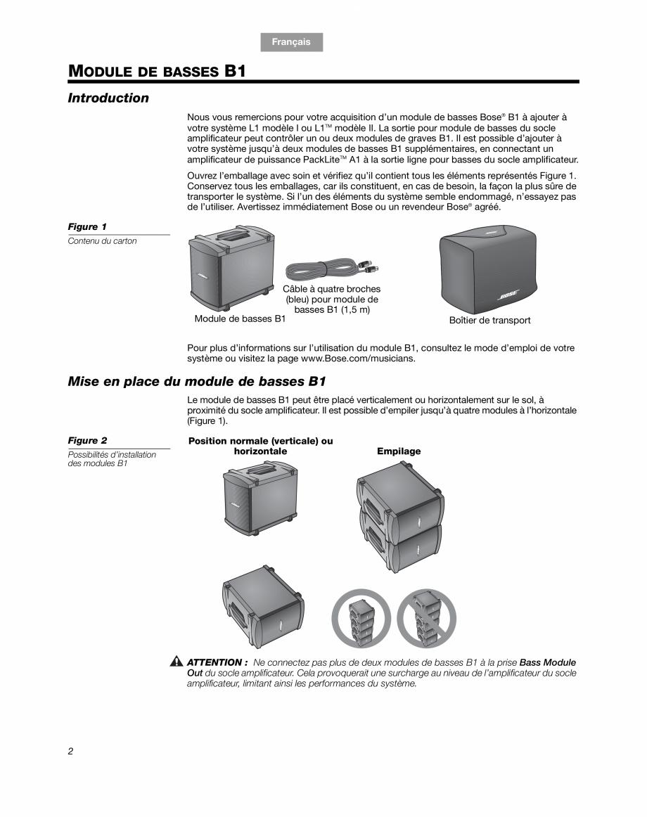 Pagina 10 - Sistem audio pentru muzica live BOSE Instructiuni montaj, utilizare Engleza, Franceza,...