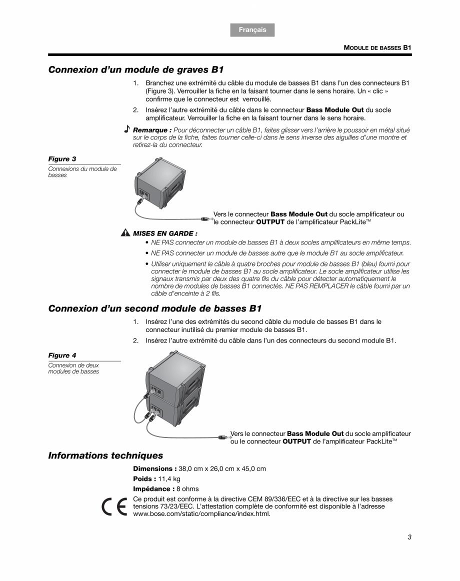Pagina 11 - Sistem audio pentru muzica live BOSE Instructiuni montaj, utilizare Engleza, Franceza,...