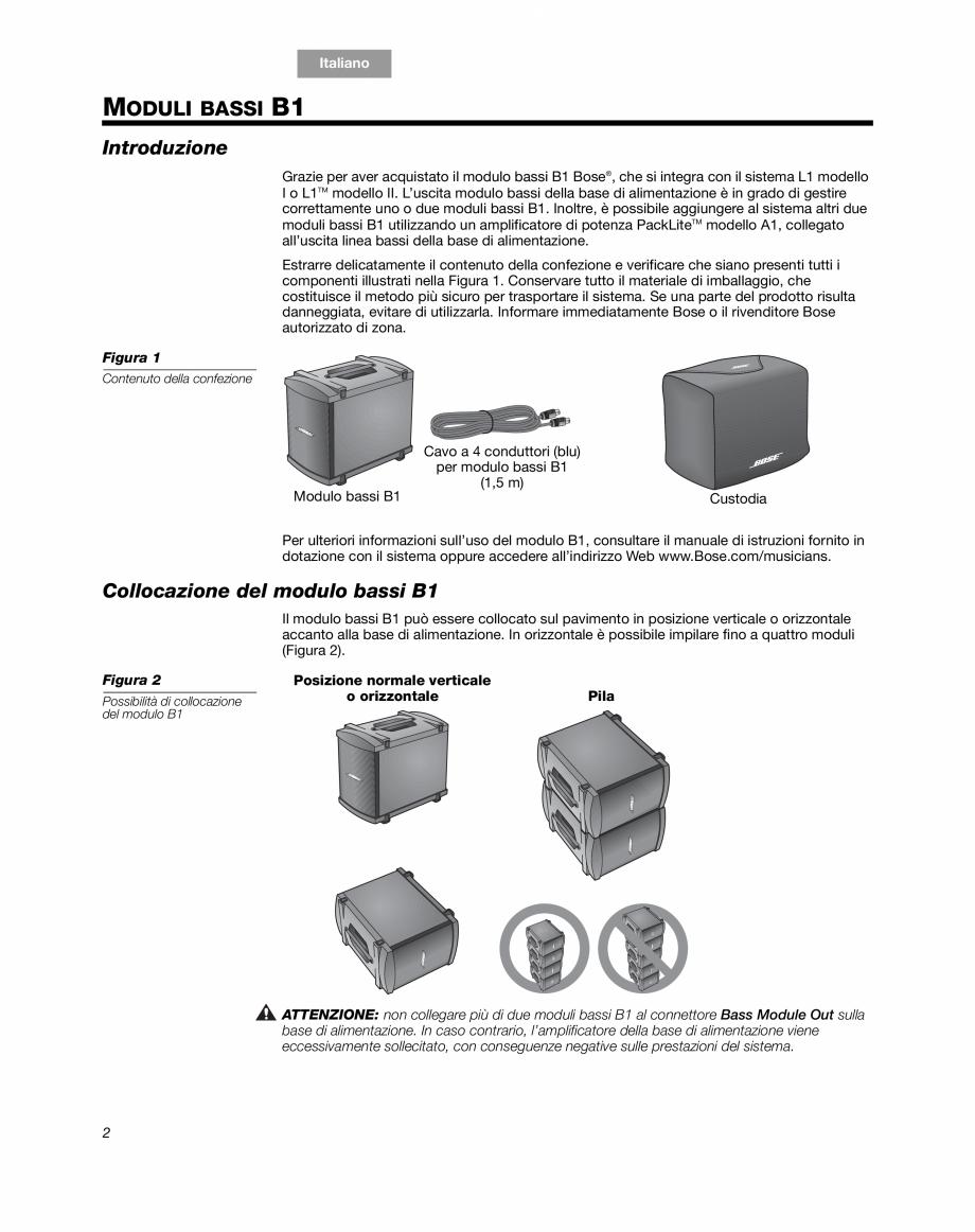 Pagina 12 - Sistem audio pentru muzica live BOSE Instructiuni montaj, utilizare Engleza, Franceza,...
