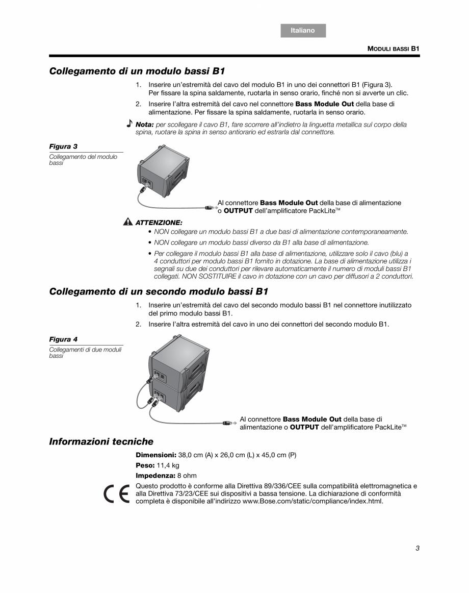 Pagina 13 - Sistem audio pentru muzica live BOSE Instructiuni montaj, utilizare Engleza, Franceza,...