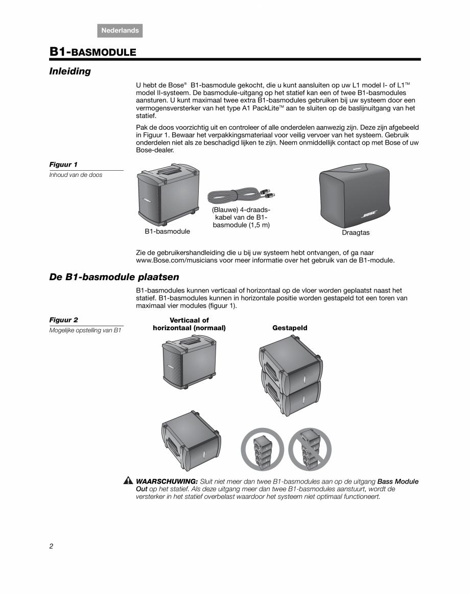Pagina 14 - Sistem audio pentru muzica live BOSE Instructiuni montaj, utilizare Engleza, Franceza,...