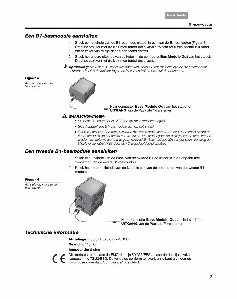 Pagina 15 - Sistem audio pentru muzica live BOSE Instructiuni montaj, utilizare Engleza, Franceza,...