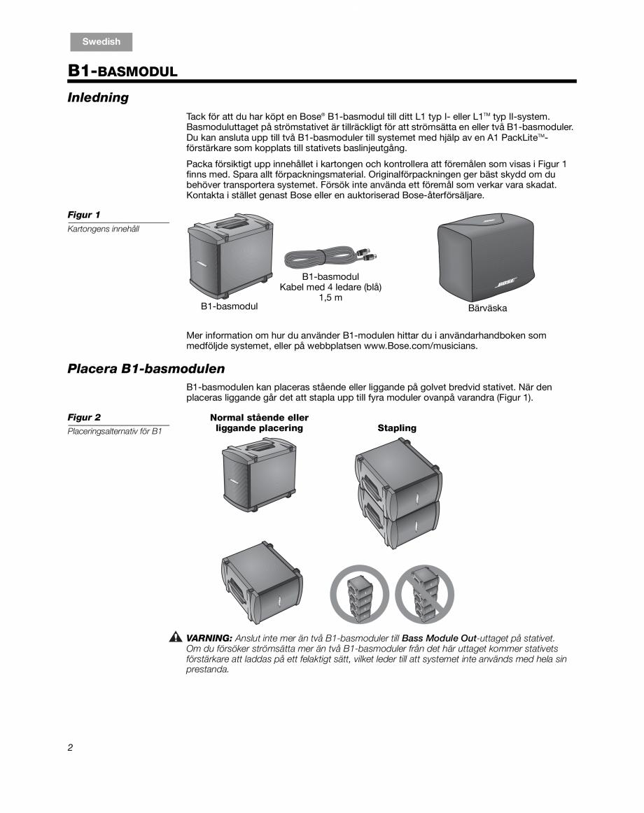 Pagina 16 - Sistem audio pentru muzica live BOSE Instructiuni montaj, utilizare Engleza, Franceza,...