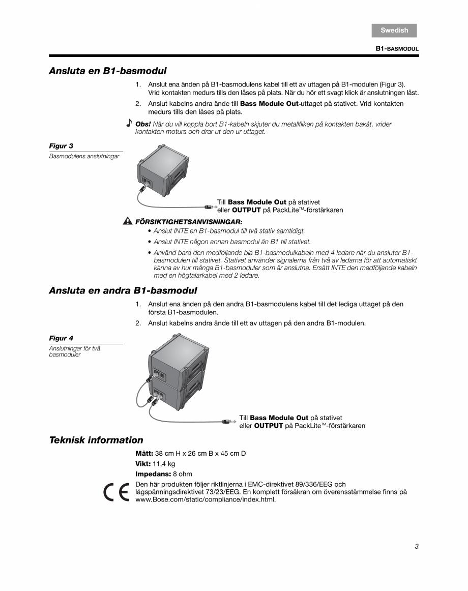 Pagina 17 - Sistem audio pentru muzica live BOSE Instructiuni montaj, utilizare Engleza, Franceza,...