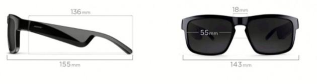 Schiță dimensiuni Ochelari audio Bose Frames Tenor