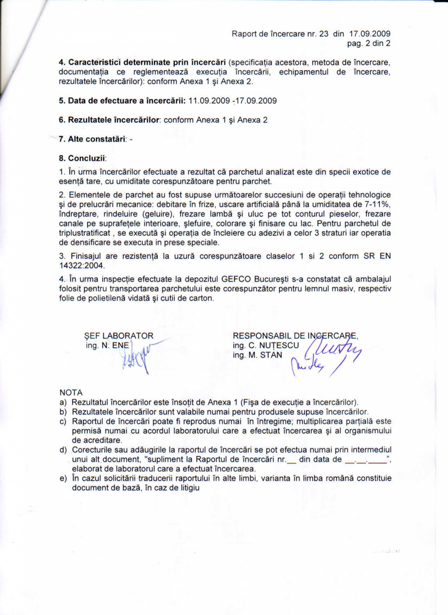 Pagina 2 - Certificat Institutul Lemnului CLASS BAMBUS Certificare produs Romana s, douavariante;...