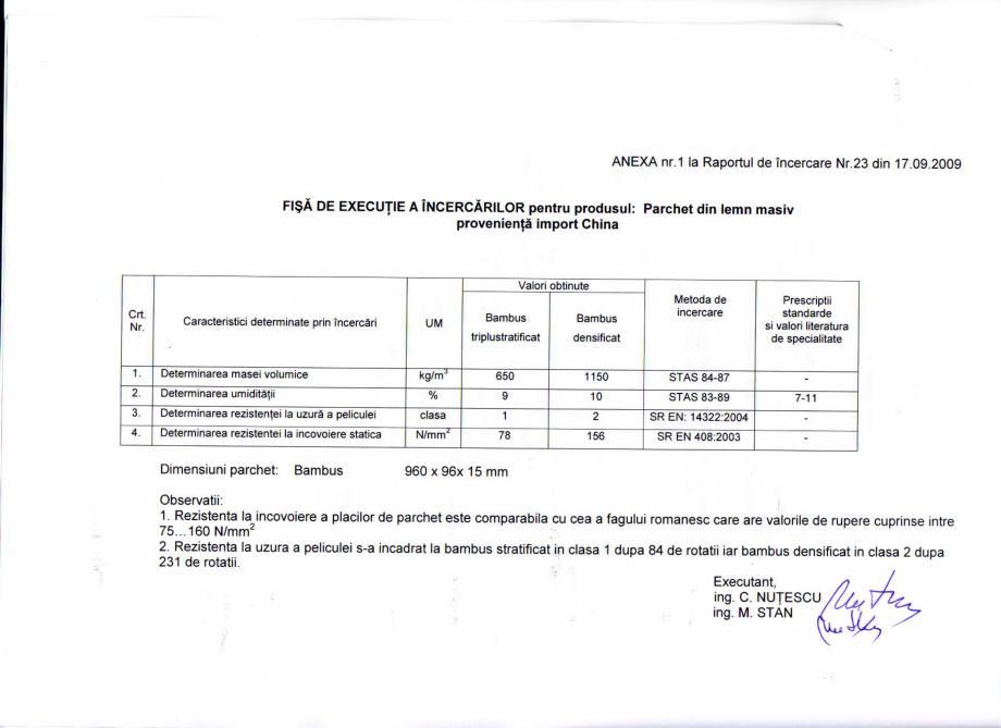 Pagina 3 - Certificat Institutul Lemnului CLASS BAMBUS Certificare produs Romana . Concluzii: 1. ln ...