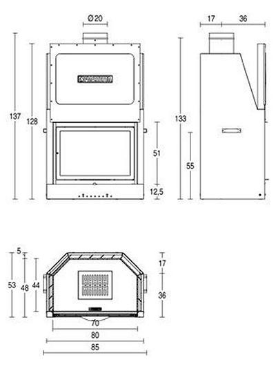 Schiță dimensiuni Focar MA 260 SL