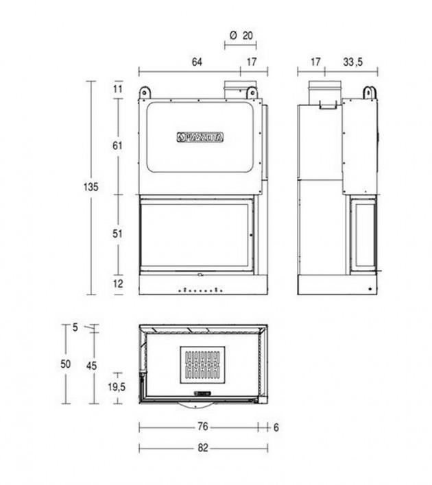 Schiță dimensiuni Focar MA 280 DS SL