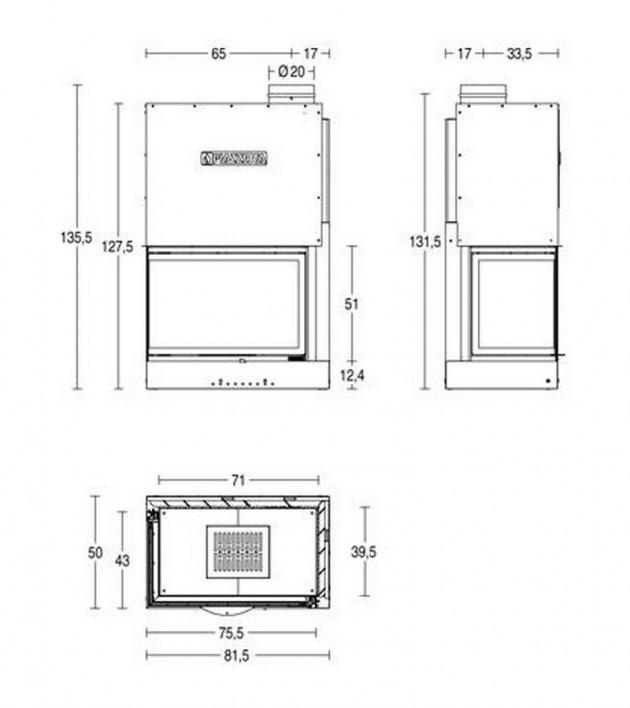 Schiță dimensiuni Focar MA 285 DS SL
