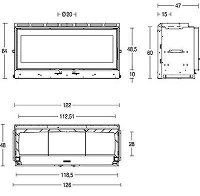 Schiță dimensiuni Focar MC 120 48