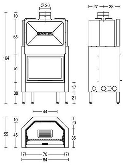 Schiță dimensiuni Focar HT 600