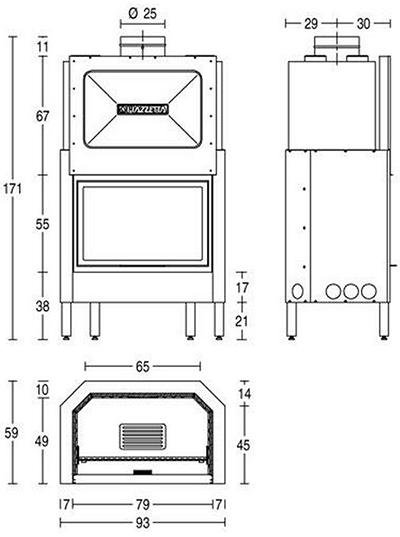 Schiță dimensiuni Focar HT 610
